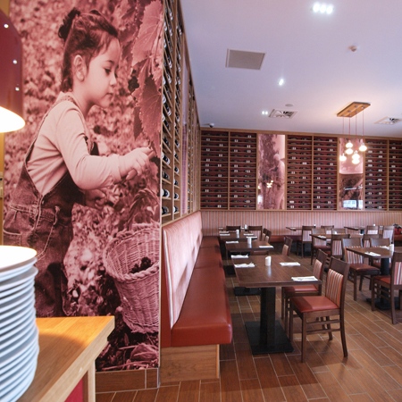 digitally-printed wallpaper, textile prints, roller blinds and illuminated glass panel graphics